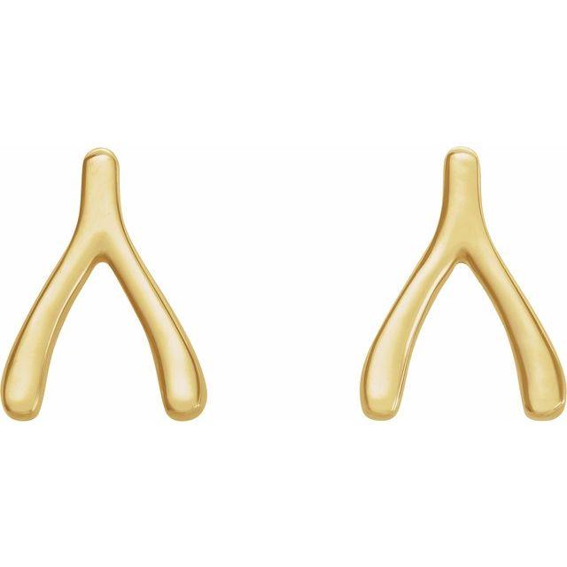 14K Yellow Wishbone Earrings