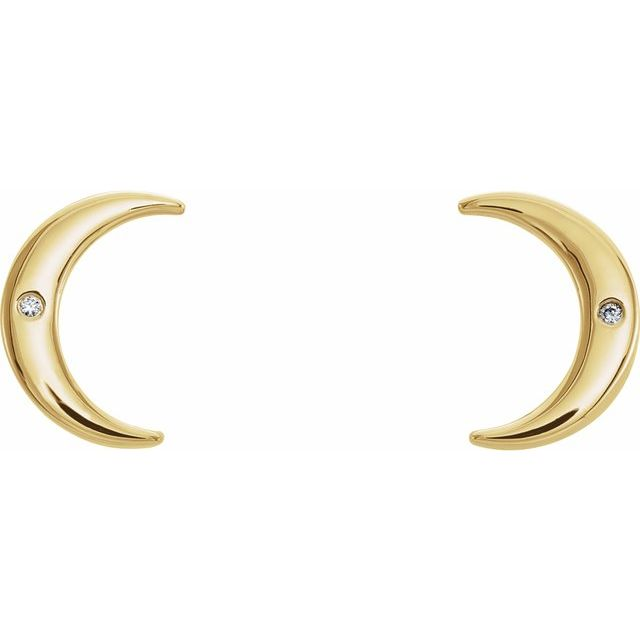 14K Yellow .005 CTW Diamond Crescent Earrings