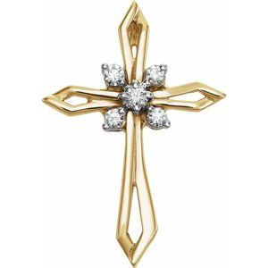 14K Yellow & White 1/6 CTW Diamond Cross Pendant