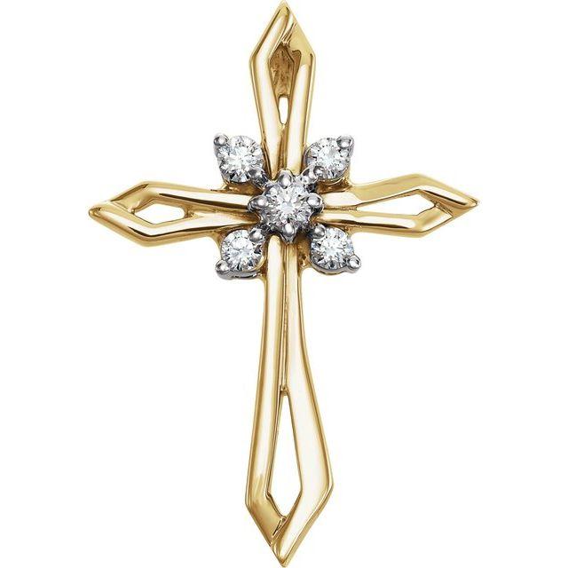 14K Yellow & White 1/6 CTW Diamond Cross Pendant