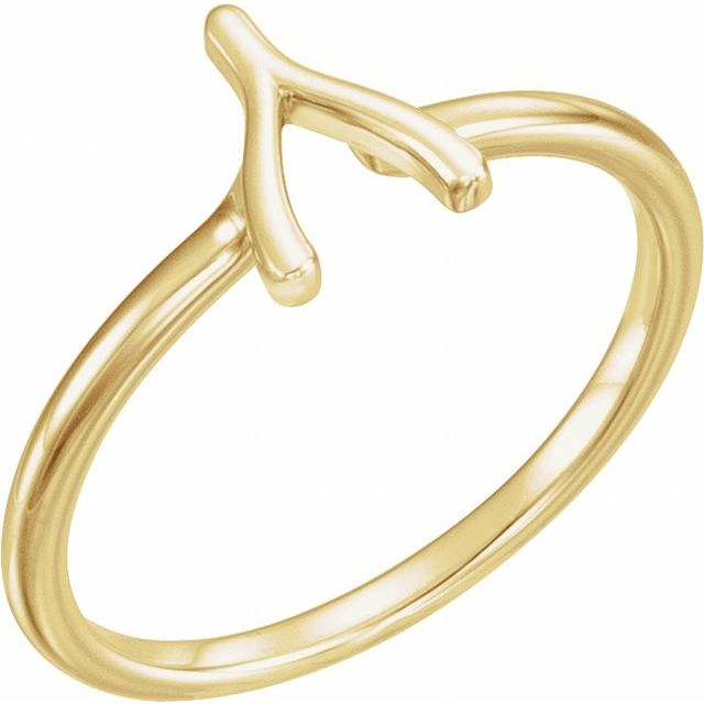 14K Yellow Wishbone Ring