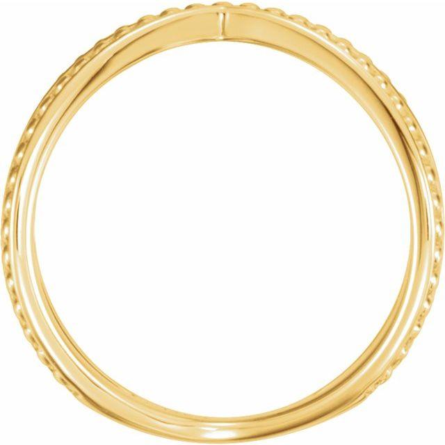 14K Yellow Beaded Criss-Cross Ring