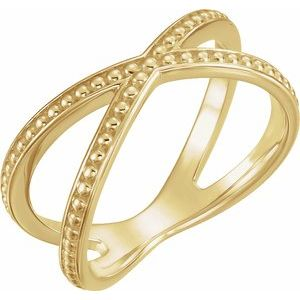 14K Yellow Beaded Criss-Cross Ring