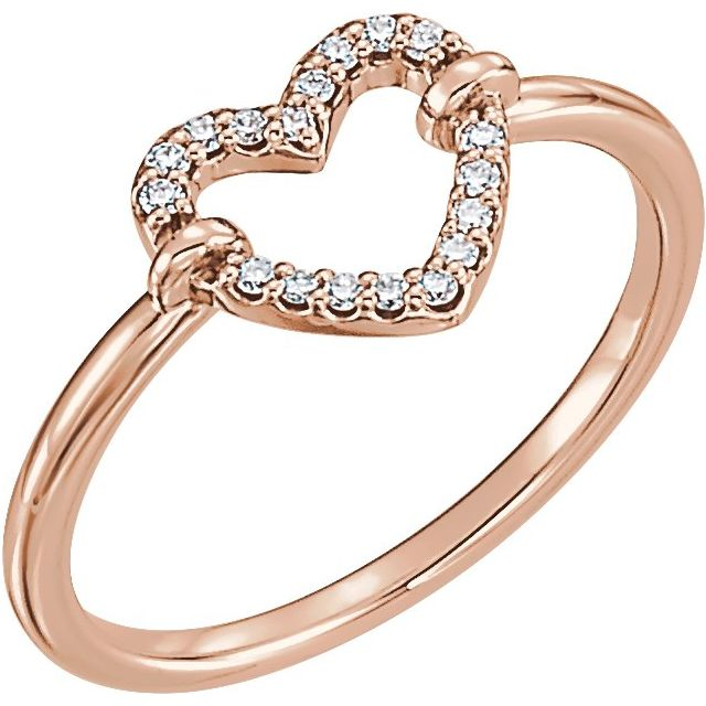 14K Rose .07 CTW Diamond Heart Ring
