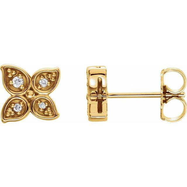 14K Yellow  .05 CTW Diamond Leaf Earrings