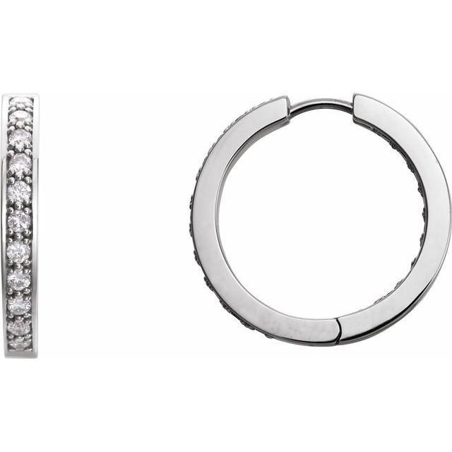 14K White 1 CTW Diamond Inside-Outside 22.8 mm Hoop Earrings