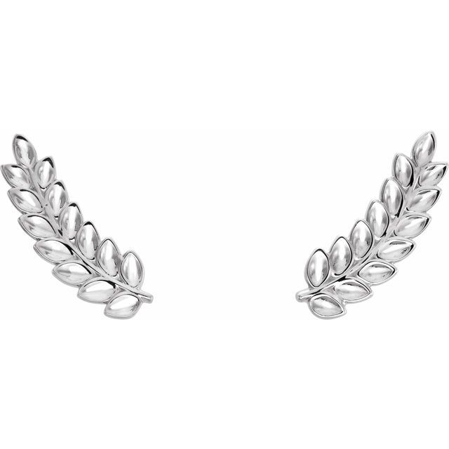 Sterling Silver Petite Leaf Ear Climbers