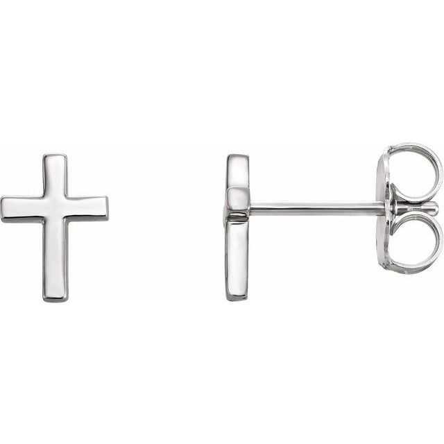 14K White Cross Earrings