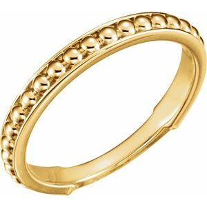 14K Yellow Beaded Stackable Ring