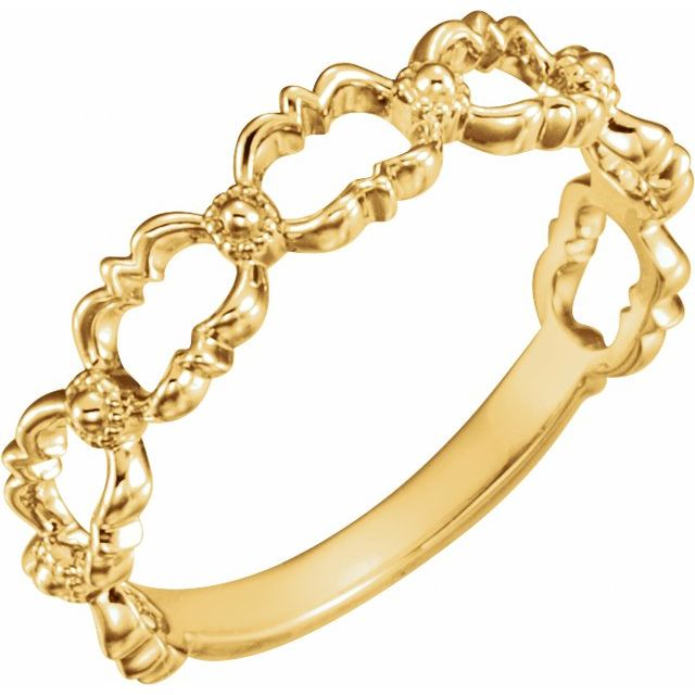 14K Yellow Stackable Bead Ring
