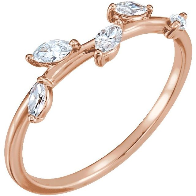 14K Rose 1/4 CTW Diamond Leaf Ring