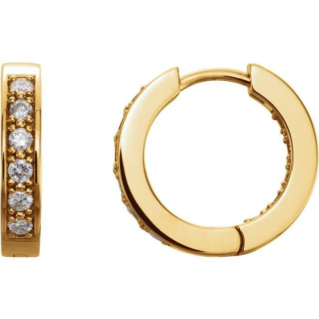 14K Yellow 1/2 CTW Diamond Inside-Outside 15 mm Hoop Earrings