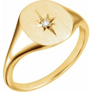 14K Yellow .02 CTW Diamond 11x10 Oval Starburst Signet Ring
