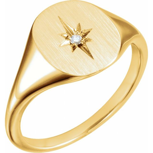14K Yellow .02 CTW Diamond 11x10 Oval Starburst Signet Ring