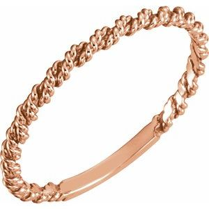 14K Rose 2 mm Twisted Rope Band