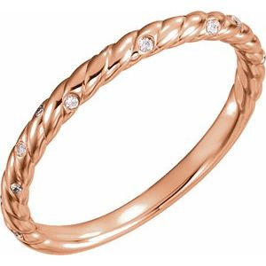 14K Rose .04 CTW Diamond Rope Band