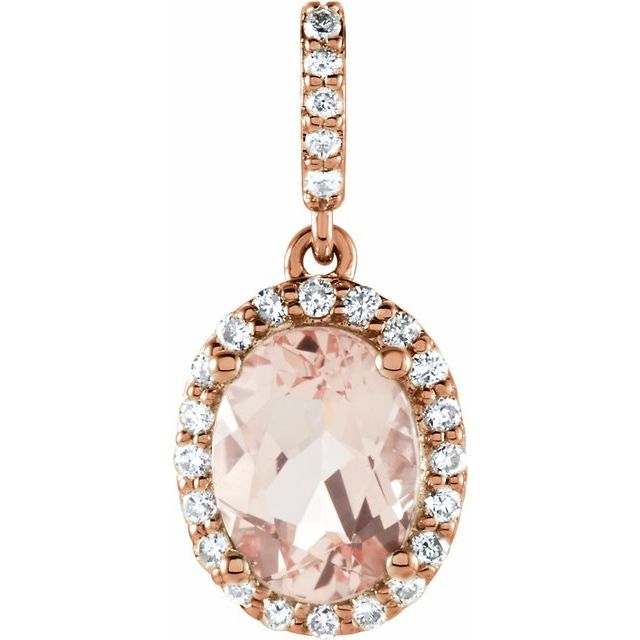 14K Rose Morganite & 1/6 CTW Diamond Pendant