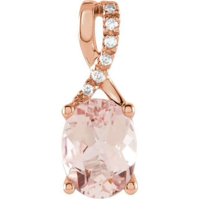 14K Rose Morganite & .03 CTW Diamond Pendant