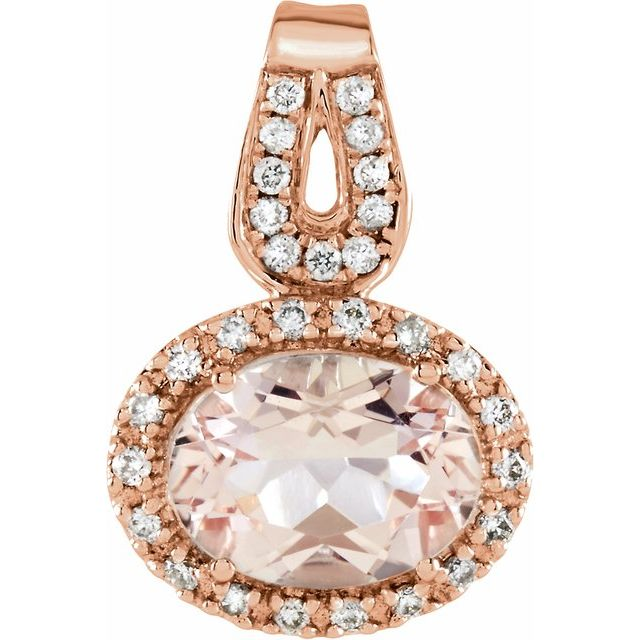 14K Rose Natural Morganite & 1/8 CTW Natural Diamond Pendant
