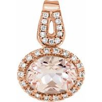 14K Rose Morganite & 1/8 CTW Diamond Pendant