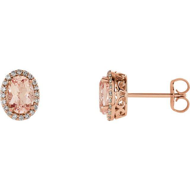14K Rose Morganite & 1/5 CTW Diamond Earrings