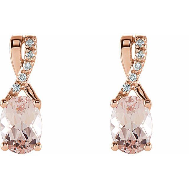 14K Rose Morganite & .05 CTW Diamond Earrings