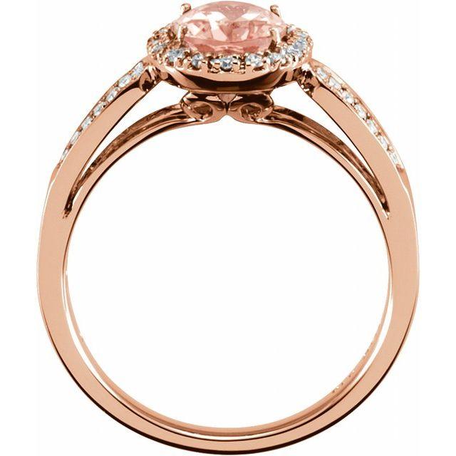 14K Rose Natural Morganite & 1/5 CTW Natural Diamond Ring