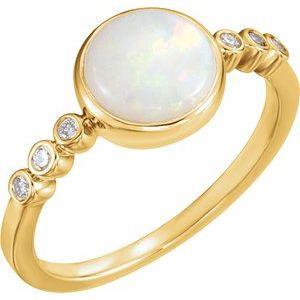 14K Yellow Opal & 1/10 CTW Diamond Ring