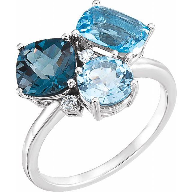 14K White Swiss, London, & Sky Blue Topaz & .05 CTW Diamond Ring