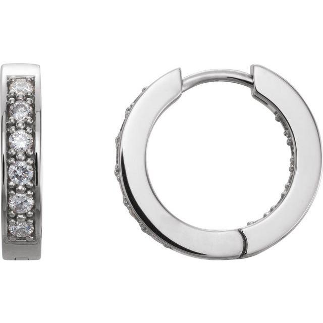 14K White 1/2 CTW Diamond Inside-Outside 15 mm Hoop Earrings