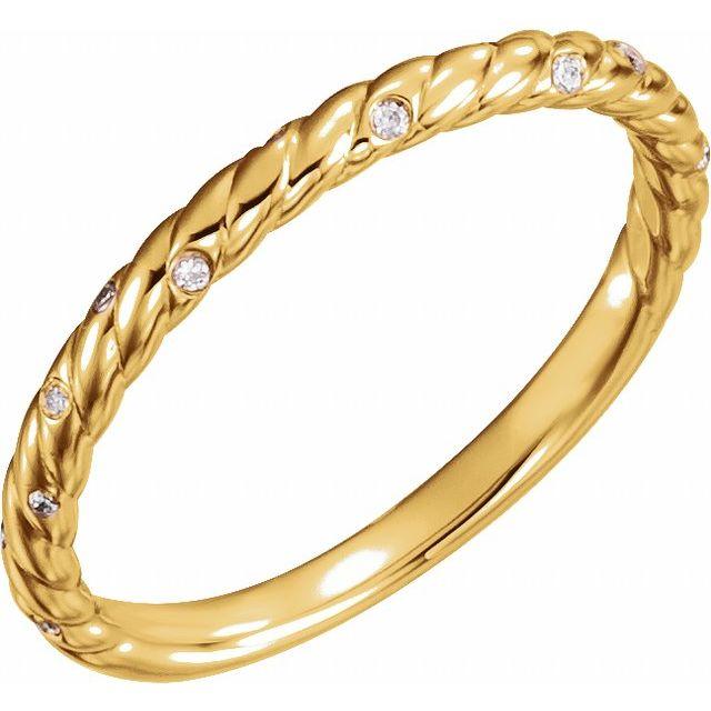 14K Yellow .04 CTW Natural Diamond Rope Band