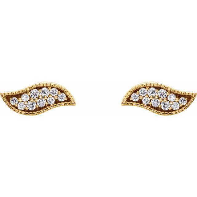 14K Yellow .06 CTW Diamond Earrings
