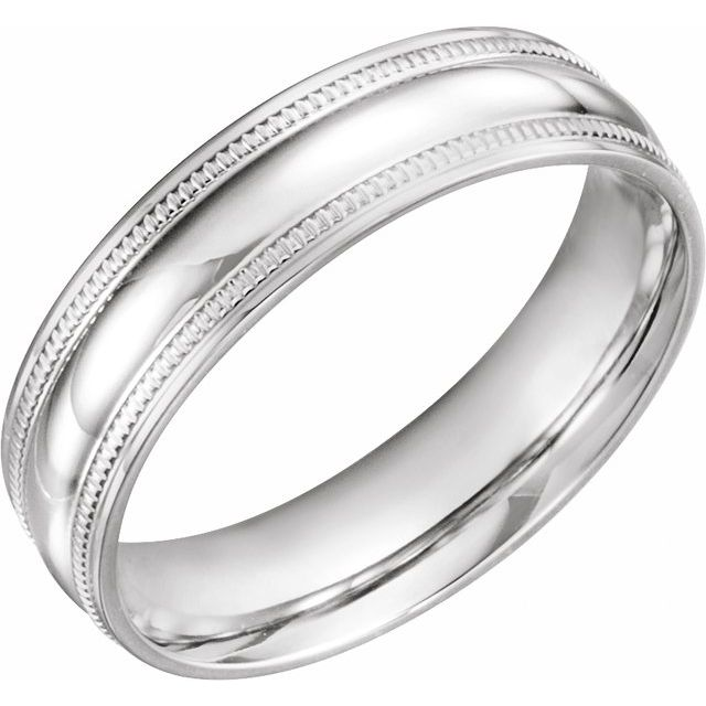 14K White 6 mm Coin Edge Design Band Size 11