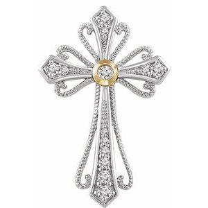 14K White/Yellow 1/6 CTW Diamond Cross Pendant