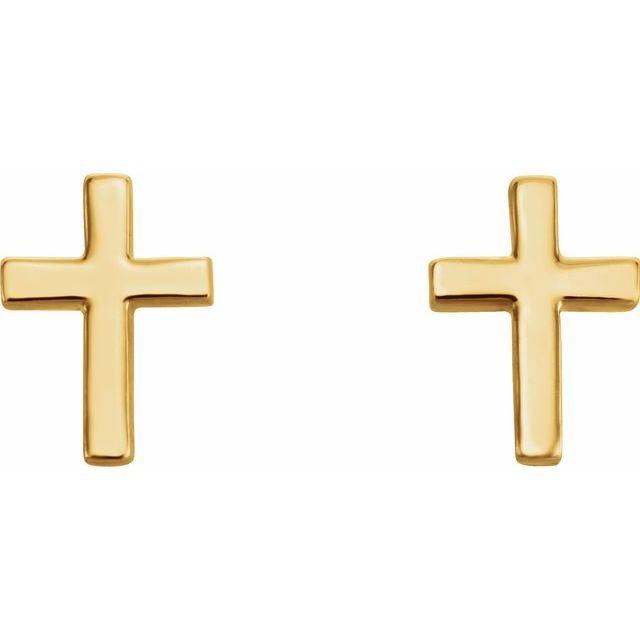 14K Yellow 7.5 mm Cross Earrings