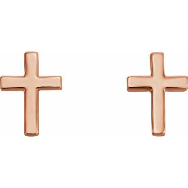 14K Rose 10 mm Cross Earrings