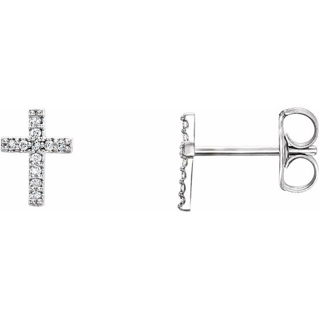 14K White .06 CTW Diamond Cross Earrings
