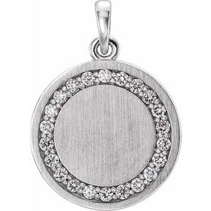 "14K White 1/5 CTW Diamond Engravable 16-18"" Necklace"