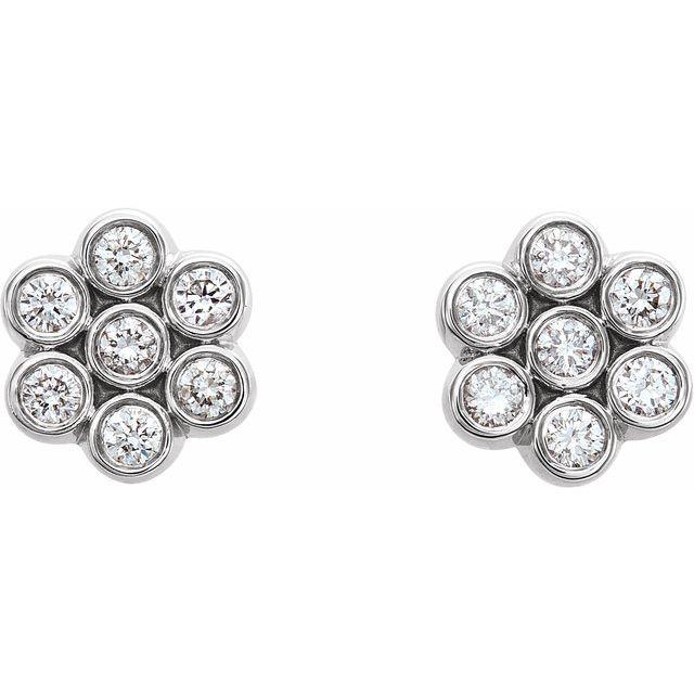 14K White 1/4 CTW Diamond Cluster Earrings