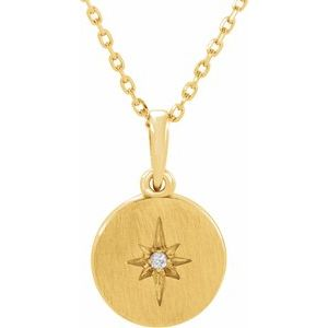 "14K Yellow .01 CT Diamond Starburst 16-18"" Necklace"