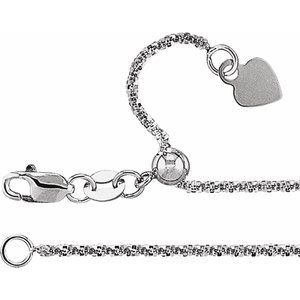 "14K White 1.4 mm Adjustable Fashion 22"" Chain"