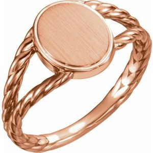 14K Rose 11x9 mm Oval Rope Signet Ring