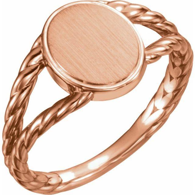 14K Rose 11x9 mm Oval Rope Signet Ring