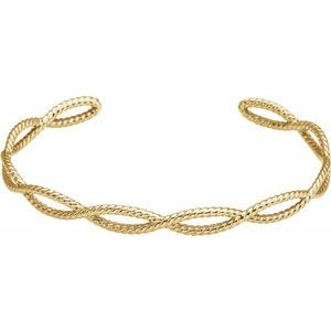 14K Yellow Rope Cuff Bracelet