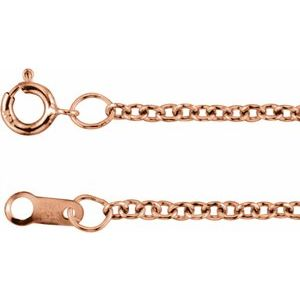"14K Rose Gold Filled 1.5 mm Solid Cable 18"" Chain"