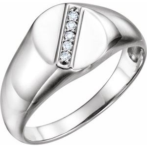 14K White .08 CTW Diamond 11x10 mm Oval Signet Ring