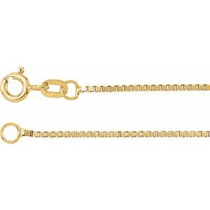 "14K Yellow 1 mm Solid Box 24"" Chain"
