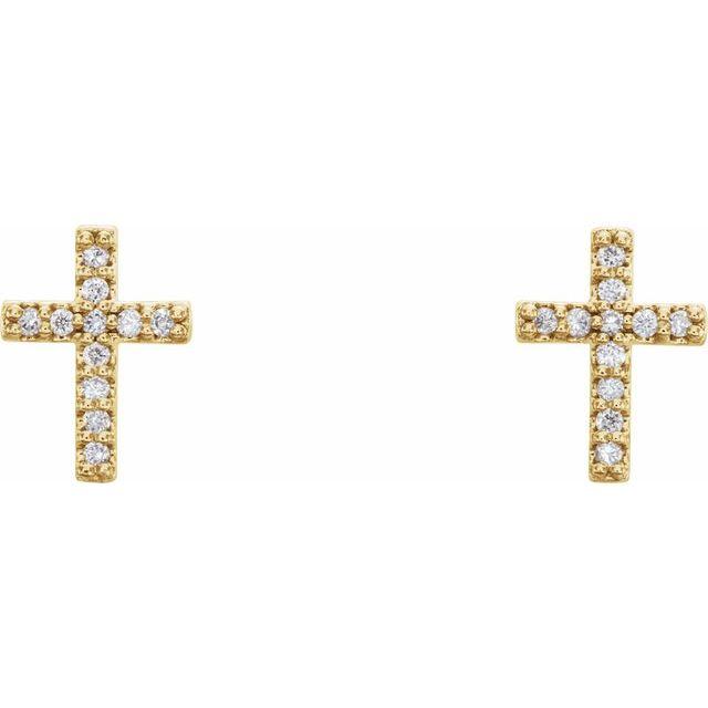 14K Yellow .05 CTW Diamond Cross Earrings