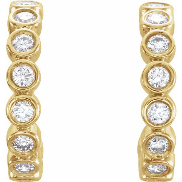 14K Yellow 1/4 CTW Diamond Huggie Earrings