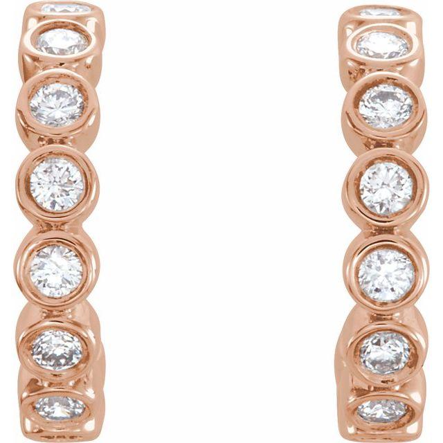 14K Rose 1/3 CTW Lab-Grown Diamond Hoop Earrings